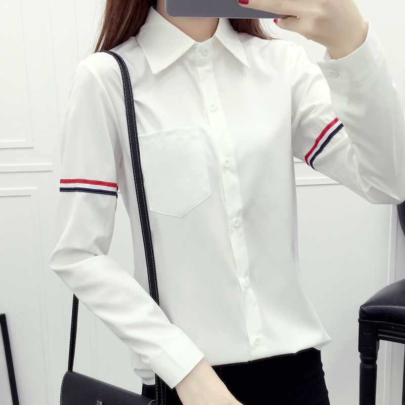 New Fashion 2016 Autumn Women Blouse Plus Size Long Sleeved Solid Color Women Basic Shirt College Style Formal Top 37G 25