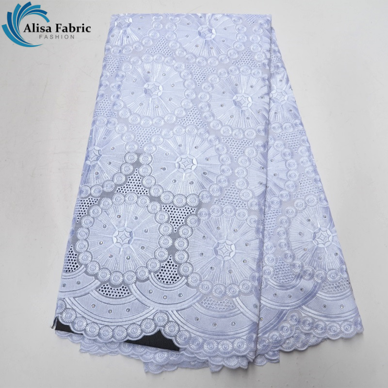 Alisa White colors 100 Cotton African embroider Lace Fabric With Stone Swiss voile Lace In Switzerland