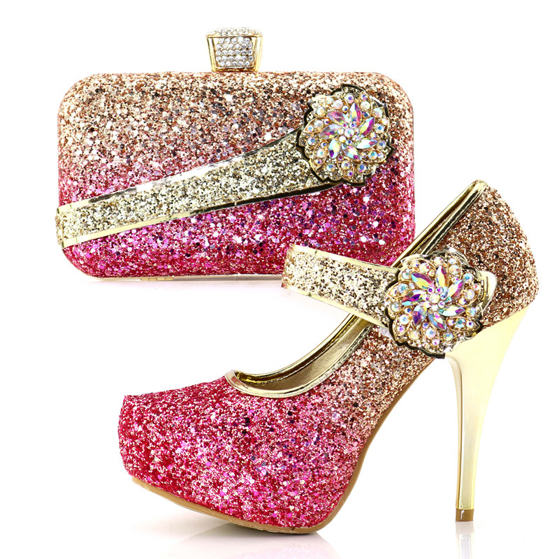 Mixed color gold and fushia pink shoes bag matching set high heel 4.7 inches size38-42 italian shoes and bag to match SB8177-3 hot artist shoes and bag set african sets italian shoes with matching bags high quality women shoes and bag to match set mm1055