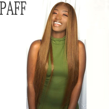 PAFF Brown Color Lace Front Human Hair Wig Peruvian Remy Silky Straight  Middle Part Dark for Black Women