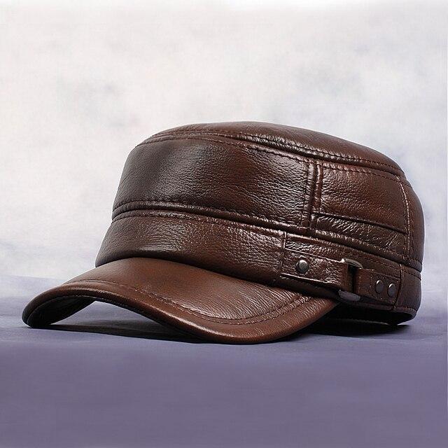 Antumn e Invierno de Los Hombres Gorras de Béisbol El Cuero Genuino Cálido  Oído Protegido Sombrero 1d46222a332