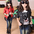 Kids Girls Jackets 2016 Spring Autumn Fashion Casual Style Faux Leather Solid Coats Children's Girls Clothing Outwears