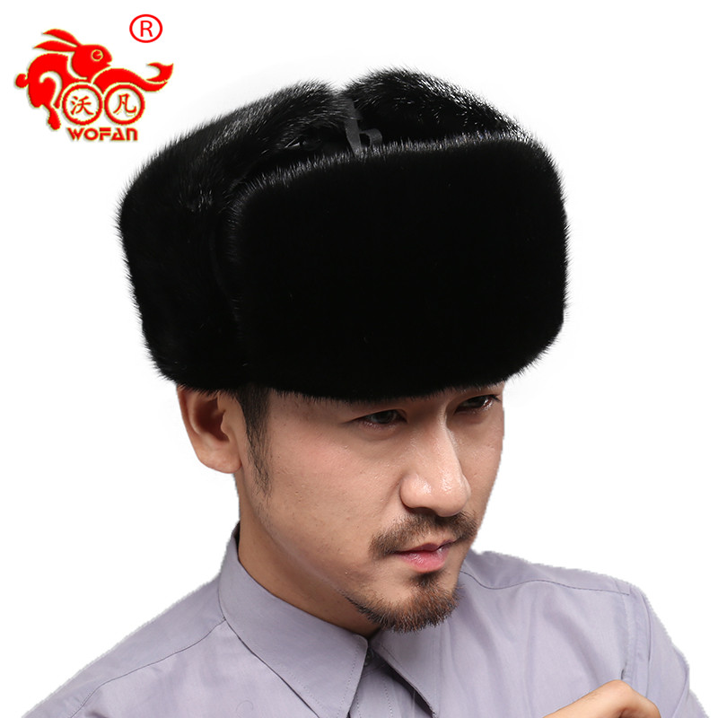 Men's mink hats luxury luxury Russian female brand warm winter protection ear warm high quality mink  hat sturdy new hot стоимость