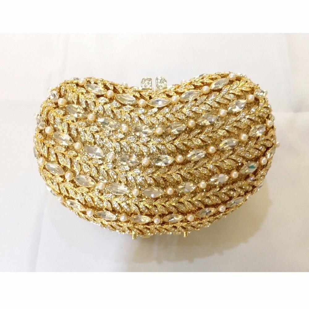 ФОТО 8339GD gold Crystal Bean Wedding Bridal Party Night hollow Metal Evening purse clutch bag case box handbag