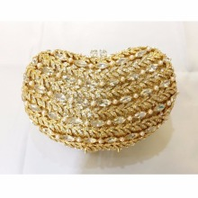 8339GD gold Crystal Bean Wedding Bridal Party Night hollow Metal Evening purse clutch bag case box handbag