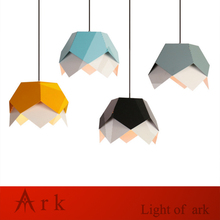 цены Geometric prismatic Pendant Light Nordic Suspension colorful matel led Lamp Color Restaurant Art Cord Creative