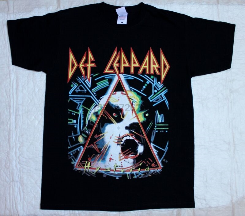 White DEF LEPPARD T-SHIRT sizes S M L XL XXL colours Black