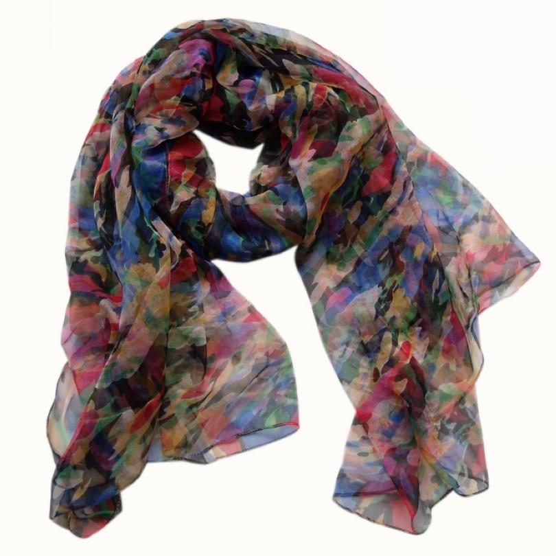 [BYSIFA] Colourful Silk Scarf Women Long Thin 100% Silk Long Scarf 170*105cm Elegant Oversized Size Brand Autumn Winter Scarves