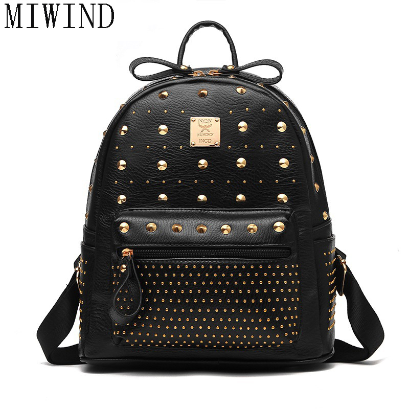 Fashion Leather Motorcycle Backpack Punk Style Rivet Small Women Backpack For Teenage Girl Travel Bags TTY507