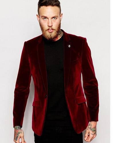 Center Vent Groomsmen Notch Lapel Groom Tuxedos Velvet Red Jacket ...