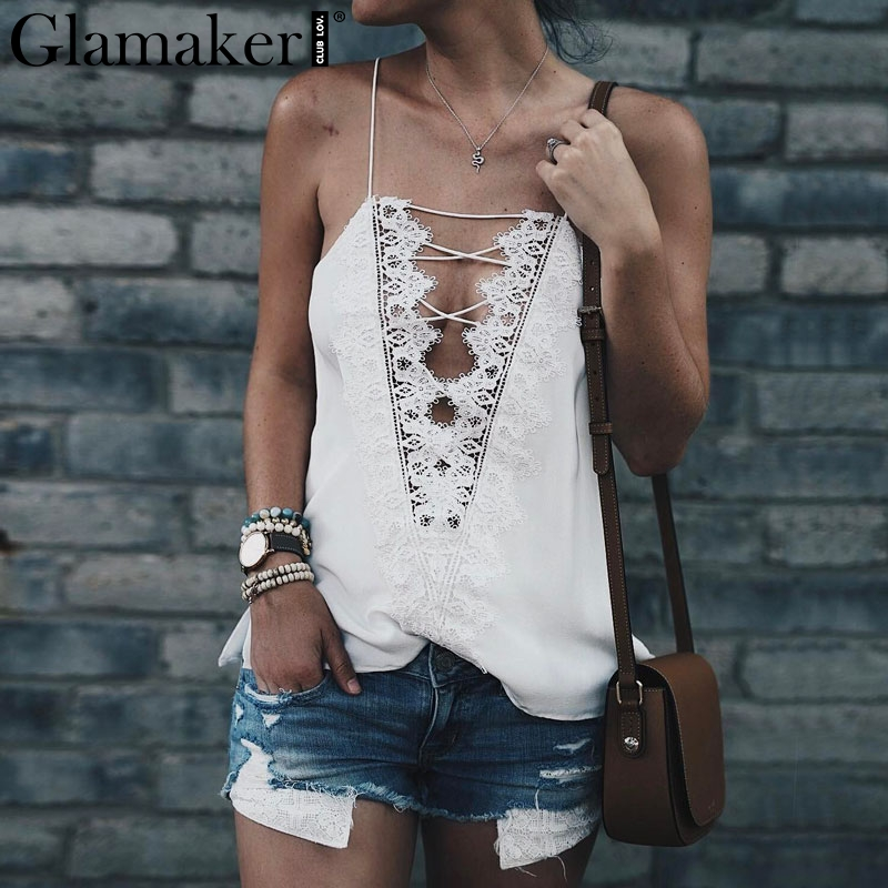 Glamaker Casual summer lace up cami women Reversible cami lace top Sexy satin adjustable ...