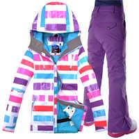 Gsou combinaison de Ski de neige costume de femme en plein air imperméable chaud coréen alpinisme costume chemise couleur rose femme combinaison de ski
