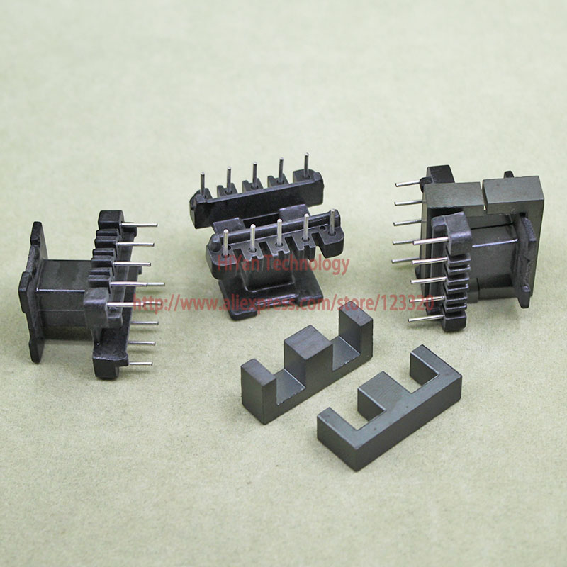 20sets/lot EE25 PC40 Ferrite Magnetic Core and 5 Pins + 5 Pins Top Entry Plastic Bobbin Customize Voltage Transformer 20sets lot ee16 pc40 ferrite magnetic core and 5 pins 5 pins side entry plastic bobbin customize voltage transformer