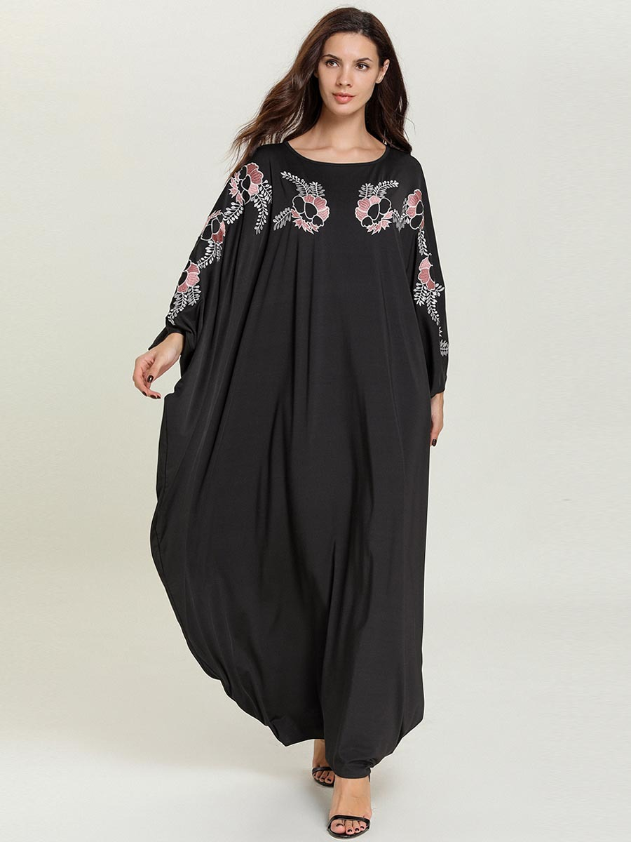 2019 Women Muslim Dress O Neck Long Batwing Sleeve Qatar UAE Abaya Dress Elegant Caftan Marocain Ramadan Islamic Dress