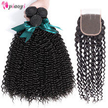 Piaoyi Hair Brazilian Hair With Closure Afro Kinky Curly Bundles With Closure Bleached Knots 4Pc Remy Human Hair Extensions Curl(China)
