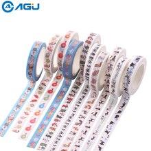 AAGU 1PC 8mm*7 Kawaii Colorful Patterns Cat Skinny Washi Tape Craft Sticky Decorative Masking Tape
