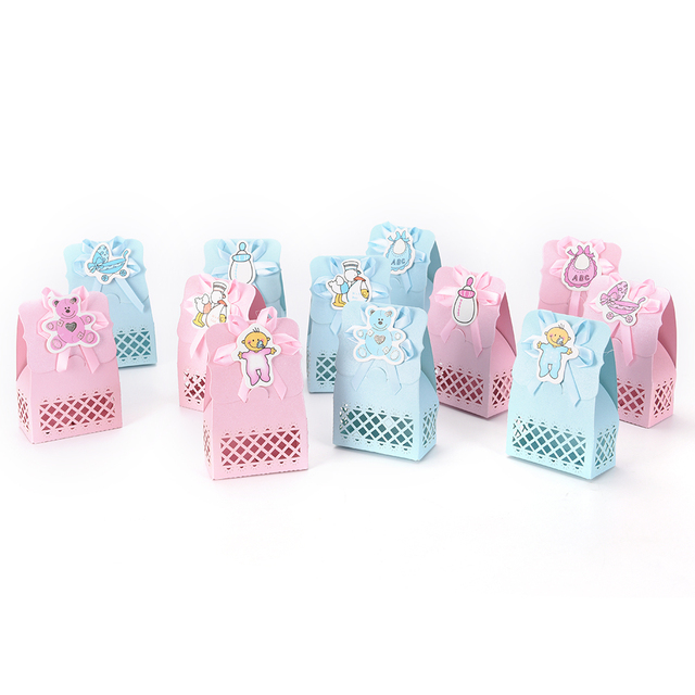 12pcs Cute Boy And Girl Paper Baptism Baby Shower Candy Box