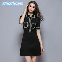 2018 Summer Short Mini Dress Women Tassel Sexy A-Line Turn-down Collar Black Dress Female Sundress Patchwork Vestido Party Robe casual loose turn down collar neck short sleeve party club midi dress 2019 summer buttons down linen vestido sundress robe femme
