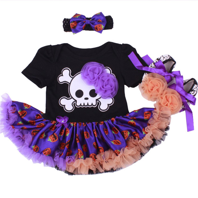 ad0919ecd Skull Black Baby Girl Halloween Costumes Lace Petti Rompers Dresses ...