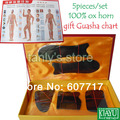 Good quality! (Gift Guasha chart) WholesaleTraditional Acupuncture Massage Gua Sha Tool 100% buffalo horn 5pieces/set