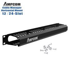 AMPCOM 1U Cable Management Horizontal Mount 19 inch Server Rack , 12/24 Slot Metal Finger Duct Wire Organizer with Cover