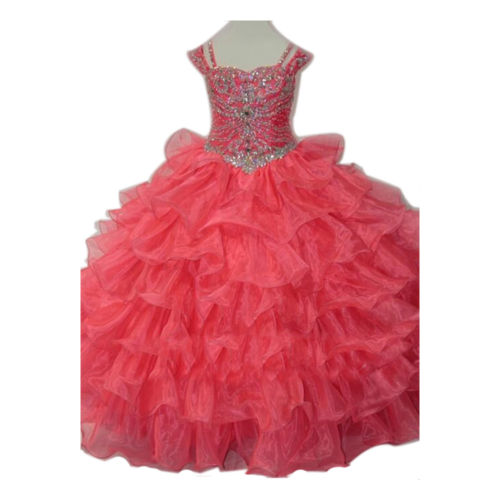 In Stock Pink Layered Flower Girl Dress Little Girls Princess Dress Prom Gowns in stock layered pre teen party gowns little girls pageant dress pink color