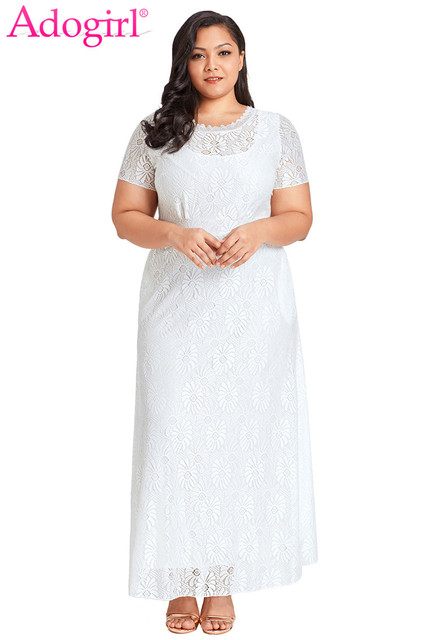 dcf61a20ed3 Adogirl Solid White Plus Size Lace Evening Gown Elegant Women Round Neck  Short Sleeve Maxi Wedding