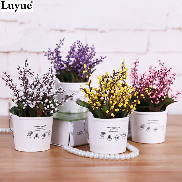 Luyue Artificial Lavender Flower Small Potted Plants Bonsai Fashion