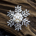 Snowflower Pattern with CZ AAA Cubic Zirconia Brooches Freshwater Pearl Jewelry Lady's Accessory