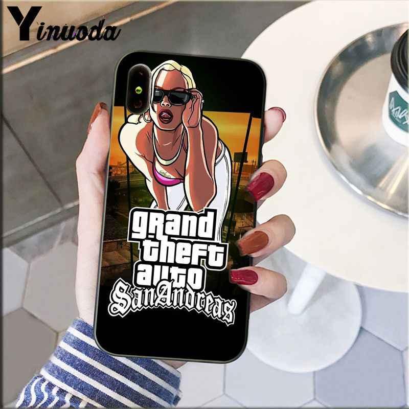 Yinuoda rockstar gta 5 grande roubo macio silicone tpu telefone capa para iphone 8 7 6s plus 5 5S se xr x xs max coque escudo
