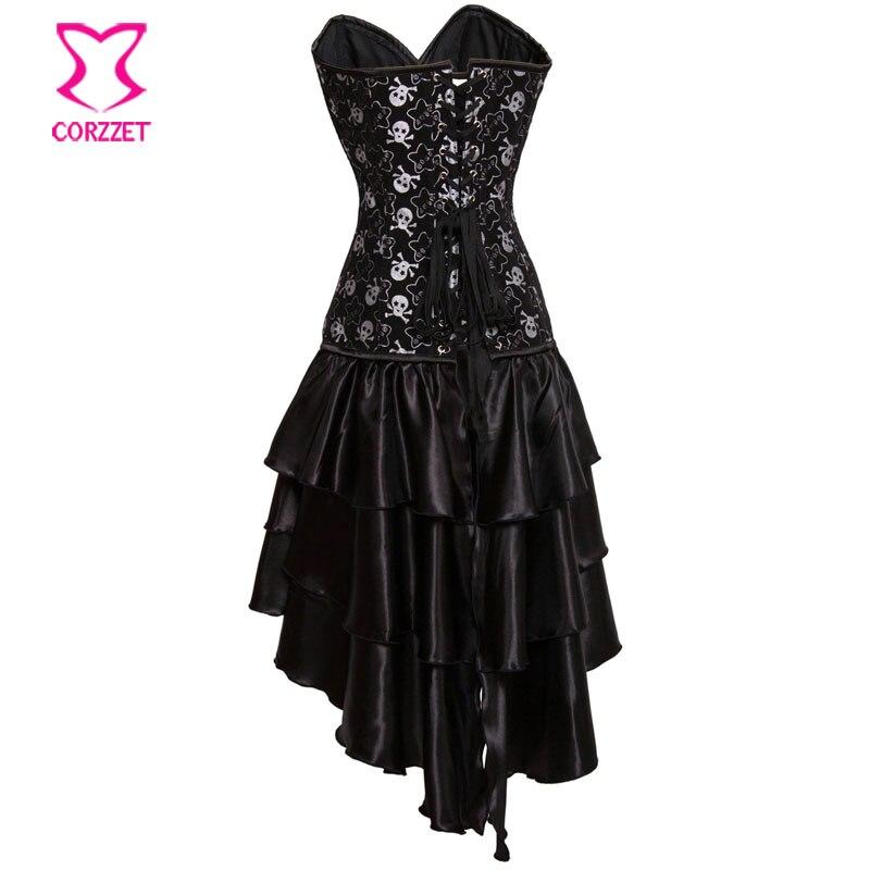 Black Stars And Skull Pattern Overbust Bustier Swallowtail Dress