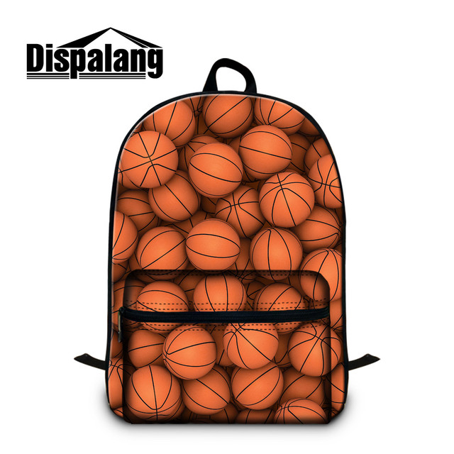 Dispalang Basketbally Backpacks For Boys Canvas School Bags Youth College Bookbags With Laptop Compartment