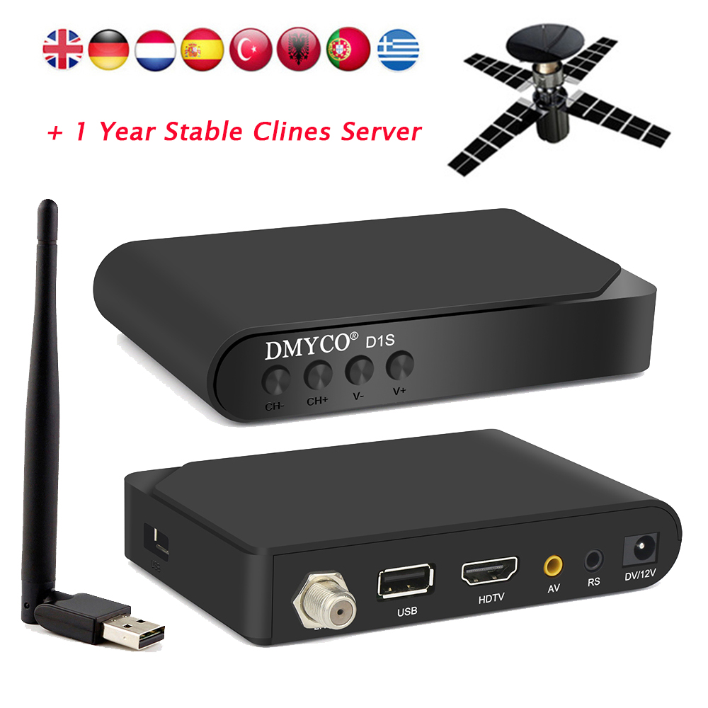 US $13 29 30% OFF|Best D1S DVB S2 Receptor Satellite Decoder Full 1080P  HD+V8 USB WIFI Support BISS Key Powervu Newcam With 7 Clines Europe  Server-in
