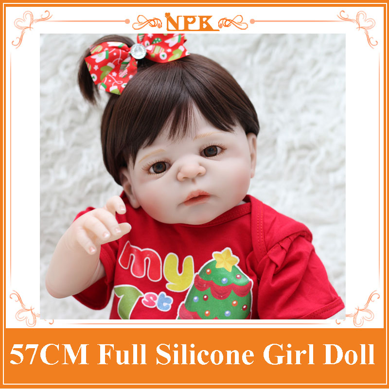 NPK 22 Baby Reborn Girl Dolls Realistic Full Silicone Bebe Reborn Boneca With Christmas Doll Dress Hot Toys For Children Boneca new style girl dolls full silicone reborn dolls with beautiful dress adora dolls bebe reborn de silicone menica