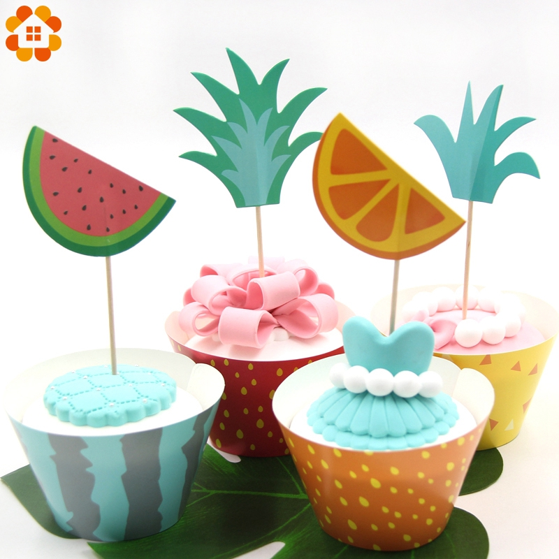 New 12PCS Cupcake Wrappers+12PCS Cake Toppers Fruit Platter Series Cake Decor Wedding/Kid Birthday/Summer Pool Party Decoration