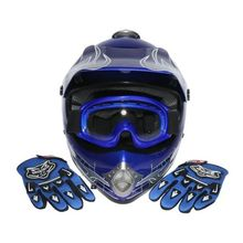 Youth Kids Blue Skull Dirt Bike ATV Motocross ATV Helmet Goggles+Gloves S/M/L