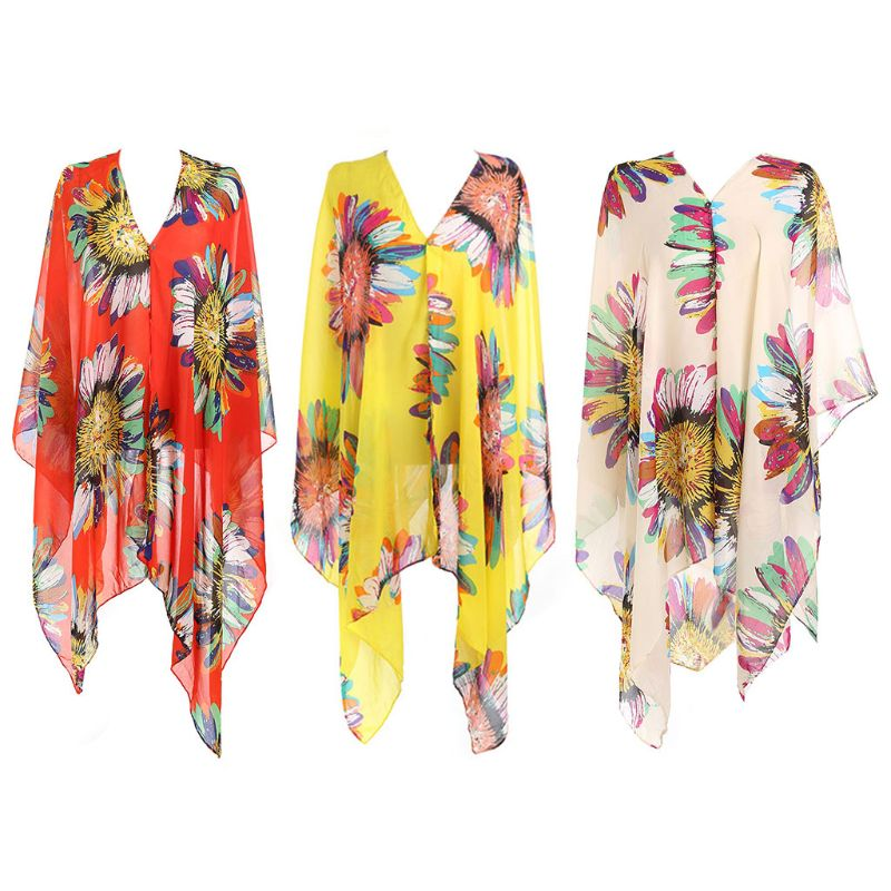 Original Women Pullover Square V-neck Swimsuit Cover Up Bohemian Rainbow Large Sunflower Printed Chiffon Cape Shawl Oversized Loose Kimon Blouses & Shirts
