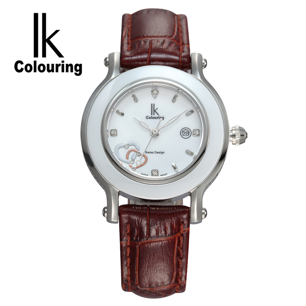 Casual IK Women's Relogio Feminino Ceramic Day Quartz Crystal Genuine Leather Waterproof Watches Wristwatch Gift Box Free Ship