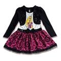Marca de Ropa 2017 Niños del Otoño Chal de Lentejuelas de Manga Larga Vestido de La Manera para Niñas Vestidos Del Tutú de La Princesa Rapunzel