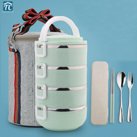 Portable Four Layer Stainless Steel Japanese Bento Box Gradient Color Thermal For Food With Containers Lunch Box Dinnerware Set