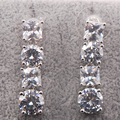 White Simulated Sapphire Woman 925 Sterling Silver Crystal Earrings TE462