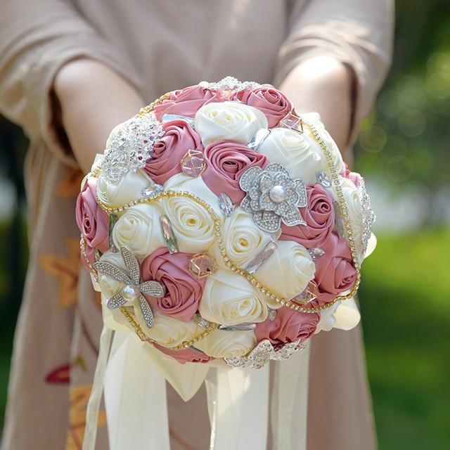 Новое Прибытие Великолепный Свадебный Букет С Жемчугом Стразами Брошь И Шелковые Розы Сияющий Свадебные Цветы Невеста Букет