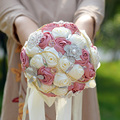New Arrival Gorgeous Bridal Bouquet With Pearl Rhinestones Brooch And Silk Roses Shining Wedding Flowers Bride Bouquet
