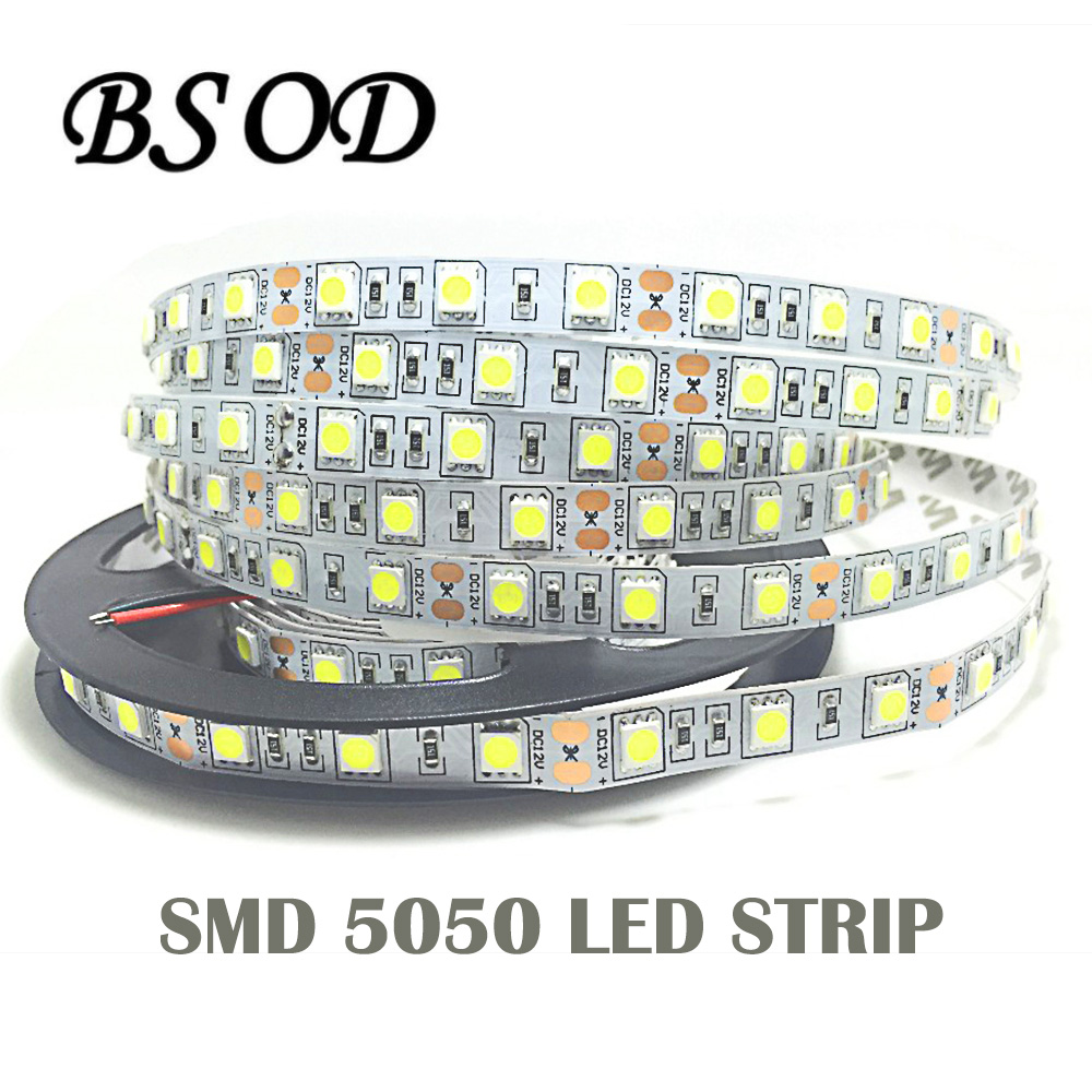 BSOD 5050 LED Flexible Strip LED 60 Pcs Meter Input 12V Safe Tape 5050 String Lighting