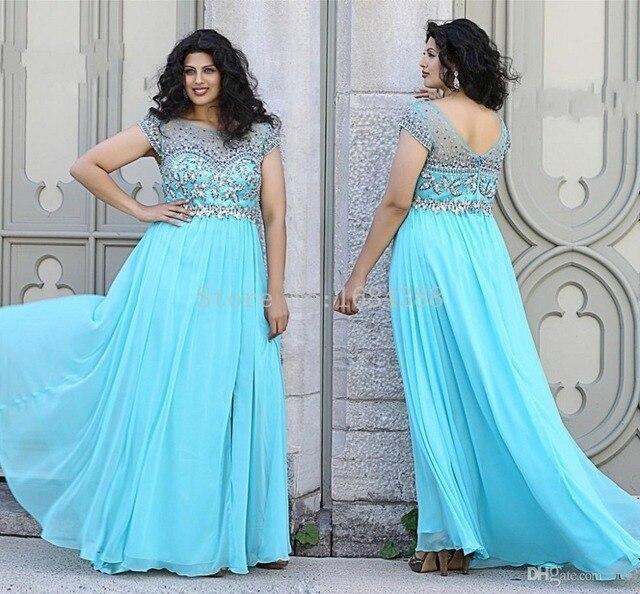 cba2e86a66b93 Hot Sale Light Blue Beach Beading Bodice Short Sleeve Floor Length Long  Chiffon Plus Size Prom Dresses vestidos de festa