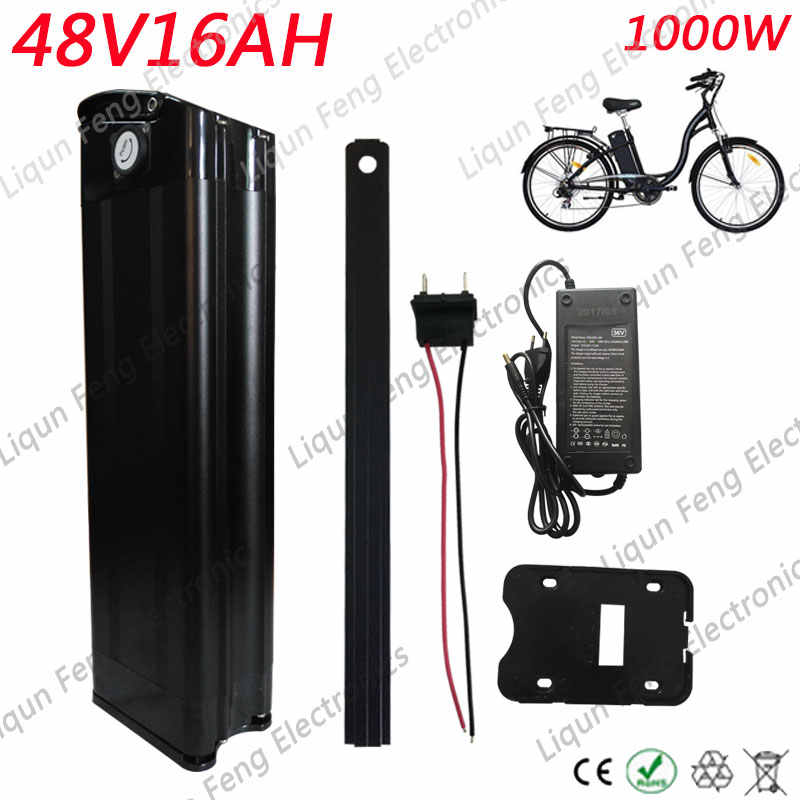 US EU NO tax 48V silver fish e-bike lithium battery 48v 15ah electric bike battery with fit 48v bafang 1000W 750W bbs02 motor