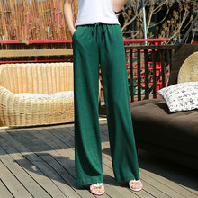 Summer Solid Color Loose Pants 2019 New Women Vintage Elastic Waist Cotton Linen Wide Leg Full Length Pants 2019 women vintage linen cotton wide leg pants casual floral embroidered elastic waist ankle length pants
