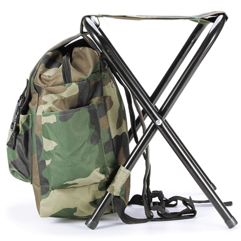 Fishing Chair Outdoor Camouflage Bag Portable Folding Stool Backpack Folding Fishing Chair Backpack</f