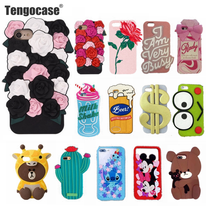 Tengocase rose flower soft silicone case for iPhone 7 8