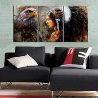 3 Panelen Indiaanse Schoonheid Meisje Side Gezicht Schilderijen muur Decor Indian Vrouwen Schoonheid en Paard Eagle Art Print omlijst
